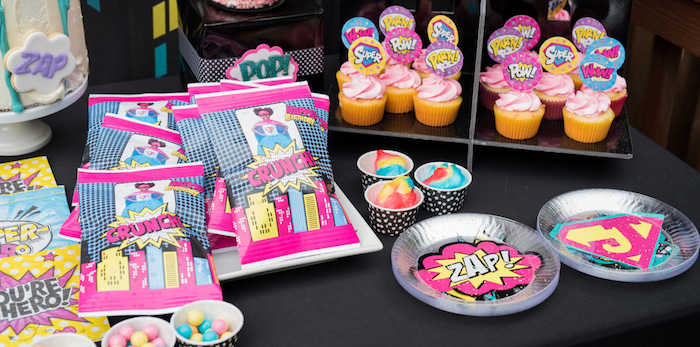 Girly Superhero Birthday Party on Kara's Party Ideas | KarasPartyIdeas.com (1)
