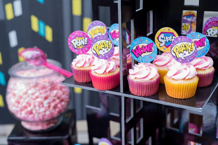 Superhero Cupcakes from a Girly Superhero Birthday Party on Kara's Party Ideas | KarasPartyIdeas.com (19)
