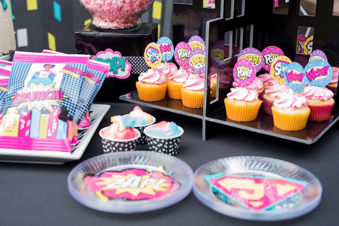 Sweet table from a Girly Superhero Birthday Party on Kara's Party Ideas | KarasPartyIdeas.com (18)