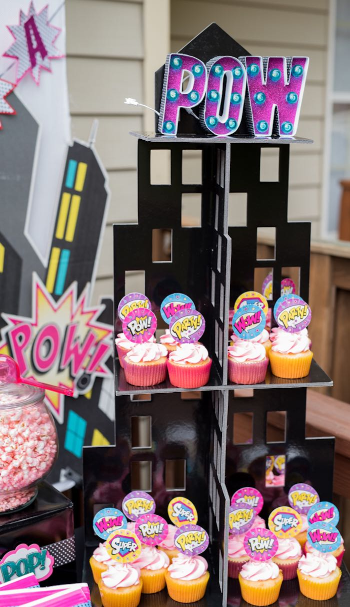 Cityscape cupcake tower from a Girly Superhero Birthday Party on Kara's Party Ideas | KarasPartyIdeas.com (15)