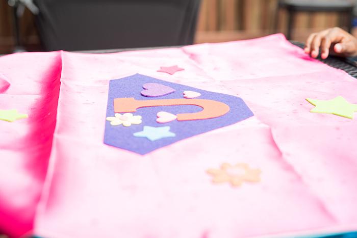 Superhero Cape Craft from a Girly Superhero Birthday Party on Kara's Party Ideas | KarasPartyIdeas.com (12)