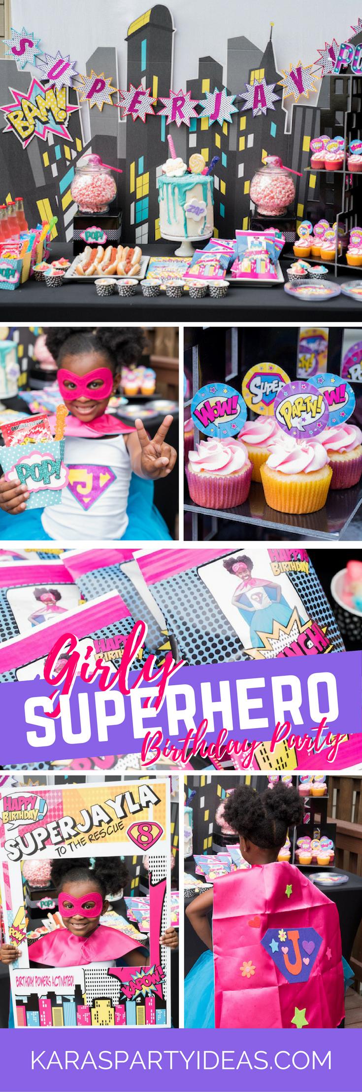 Girly Superhero Birthday Party via Kara's Party Ideas - KarasPartyIdeas.com