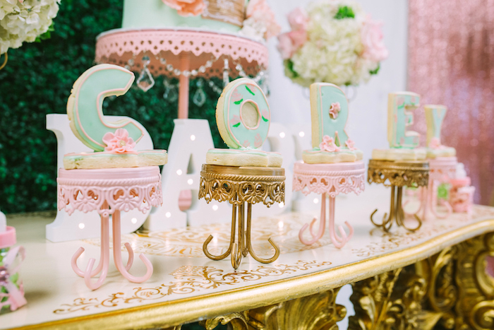 Name cookies from a Glamorous Garden Baby Shower on Kara's Party Ideas | KarasPartyIdeas.com (10)