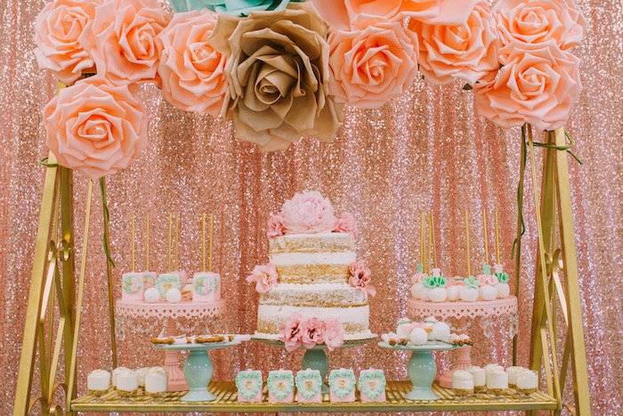 Dessert spread from a Glamorous Garden Baby Shower on Kara's Party Ideas | KarasPartyIdeas.com (9)