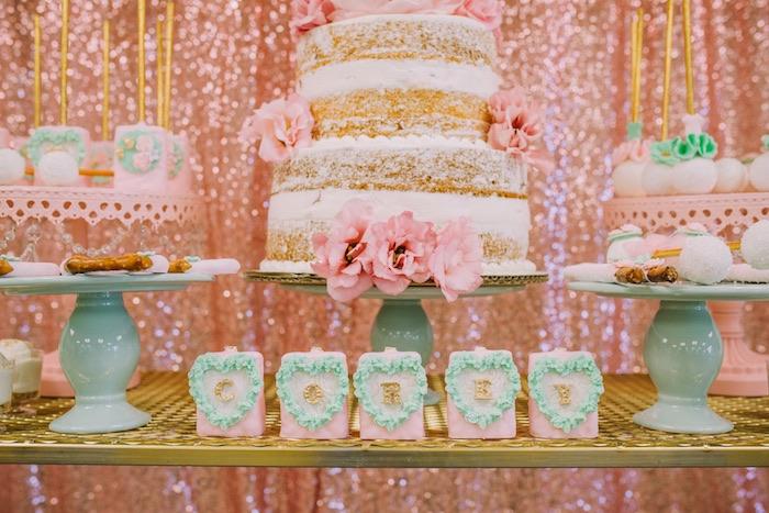 Rice Krispie Treats from a Glamorous Garden Baby Shower on Kara's Party Ideas | KarasPartyIdeas.com (8)