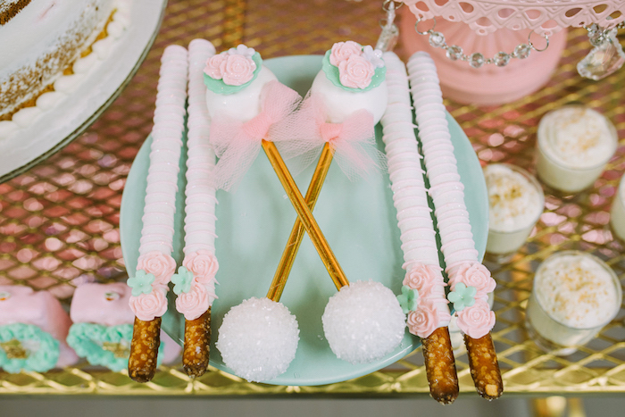 Rattle cake pos and pretzel sticks from a Glamorous Garden Baby Shower on Kara's Party Ideas | KarasPartyIdeas.com (7)