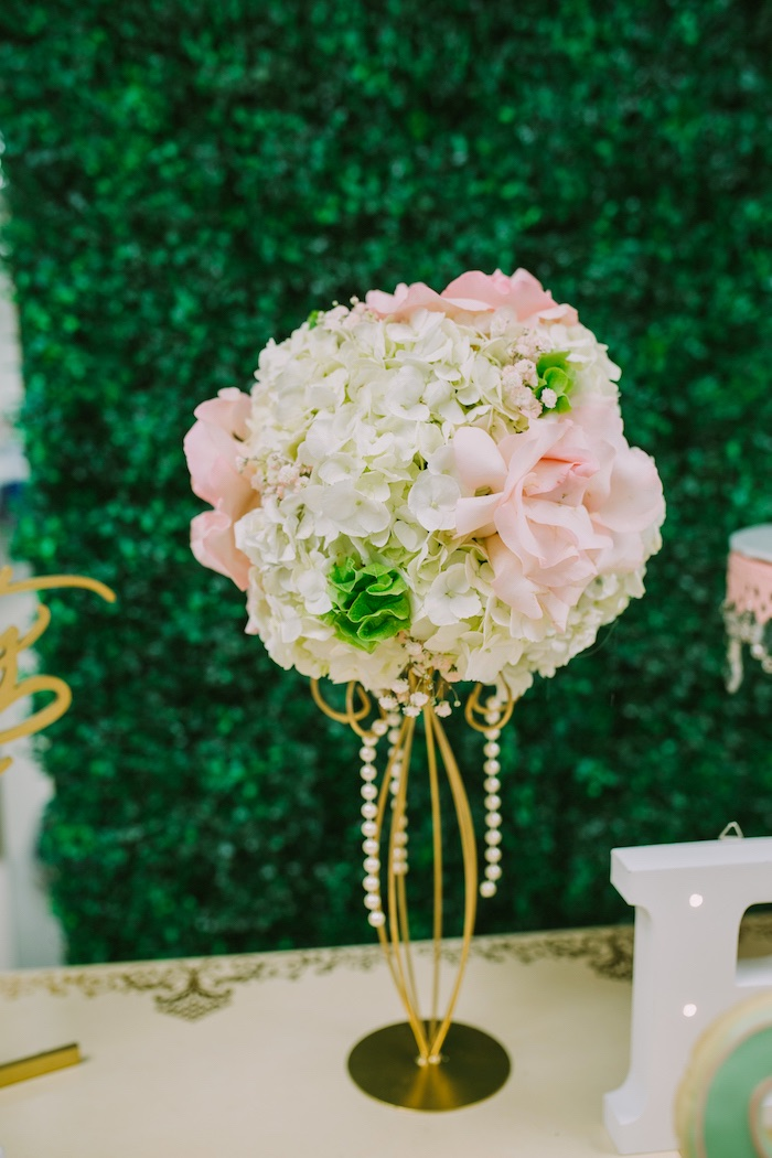 Floral arrangement from a Glamorous Garden Baby Shower on Kara's Party Ideas | KarasPartyIdeas.com (5)