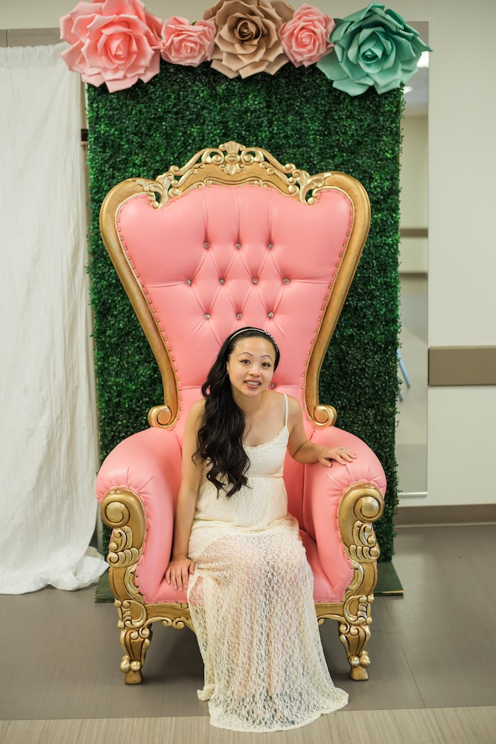 Pink throne from a Glamorous Garden Baby Shower on Kara's Party Ideas | KarasPartyIdeas.com (19)