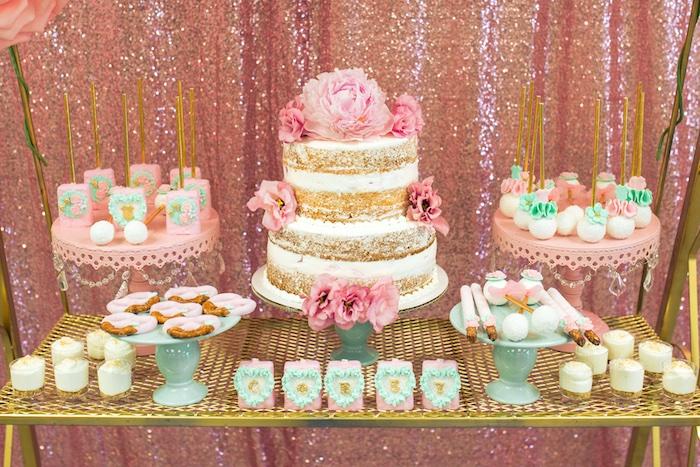 Sweet spread from a Glamorous Garden Baby Shower on Kara's Party Ideas | KarasPartyIdeas.com (17)