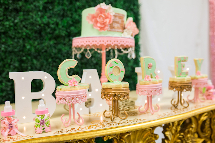 Name cookies on pedestals from a Glamorous Garden Baby Shower on Kara's Party Ideas | KarasPartyIdeas.com (15)