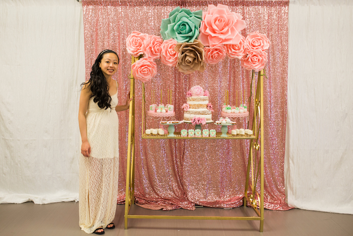 Floral dessert spread from a Glamorous Garden Baby Shower on Kara's Party Ideas | KarasPartyIdeas.com (14)