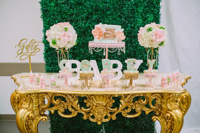 Cake table from a Glamorous Garden Baby Shower on Kara's Party Ideas | KarasPartyIdeas.com (13)