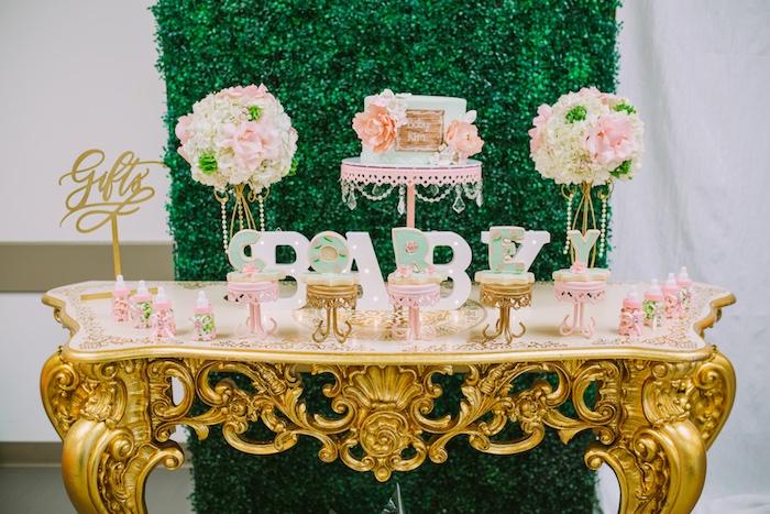 Cake table from a Glamorous Garden Baby Shower on Kara's Party Ideas | KarasPartyIdeas.com (13)
