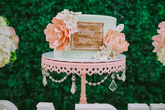 Cake adorned with sugar flowers from a Glamorous Garden Baby Shower on Kara's Party Ideas | KarasPartyIdeas.com (12)