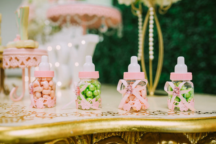 Baby bottle favors from a Glamorous Garden Baby Shower on Kara's Party Ideas | KarasPartyIdeas.com (11)