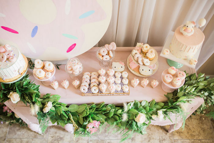 Dessert tabletop from a Hello Kitty Inspired Donut Party on Kara's Party Ideas | KarasPartyIdeas.com (9)