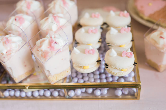 Hello Kitty macarons and dessert cups from a Hello Kitty Inspired Donut Party on Kara's Party Ideas | KarasPartyIdeas.com (6)
