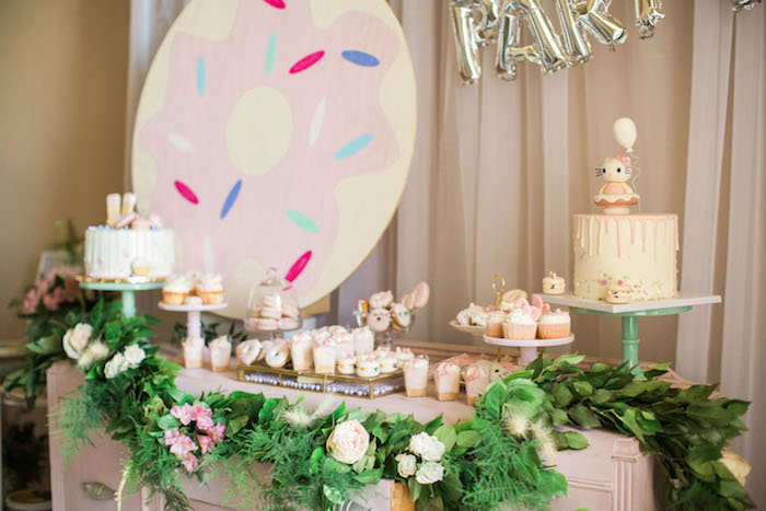 Dessert table from a Hello Kitty Inspired Donut Party on Kara's Party Ideas | KarasPartyIdeas.com (14)