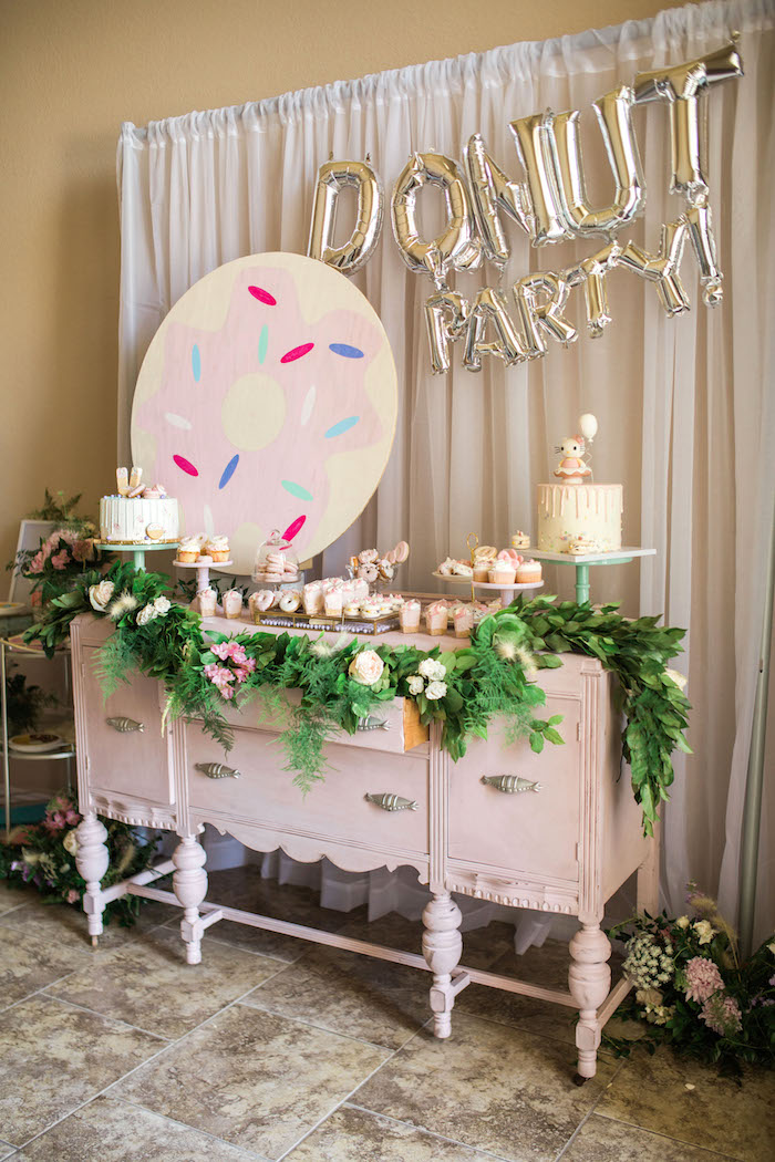 Dessert table from a Hello Kitty Inspired Donut Party on Kara's Party Ideas | KarasPartyIdeas.com (13)