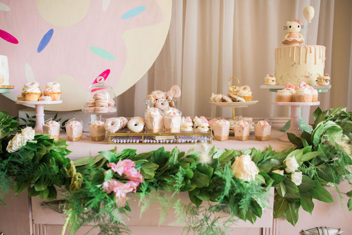 Dessert table from a Hello Kitty Inspired Donut Party on Kara's Party Ideas | KarasPartyIdeas.com (12)