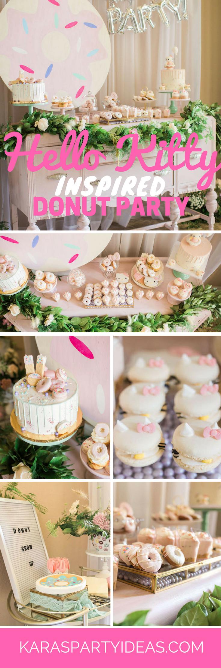 Hello Kitty Inspired Donut Party via Kara's Party Ideas - KarasPartyIdeas.com