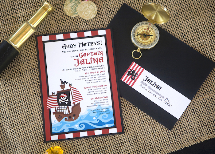 Invitation Blur from a Misty Cove Pirate Birthday Party via Kara's Party Ideas | KarasPartyIdeas.com