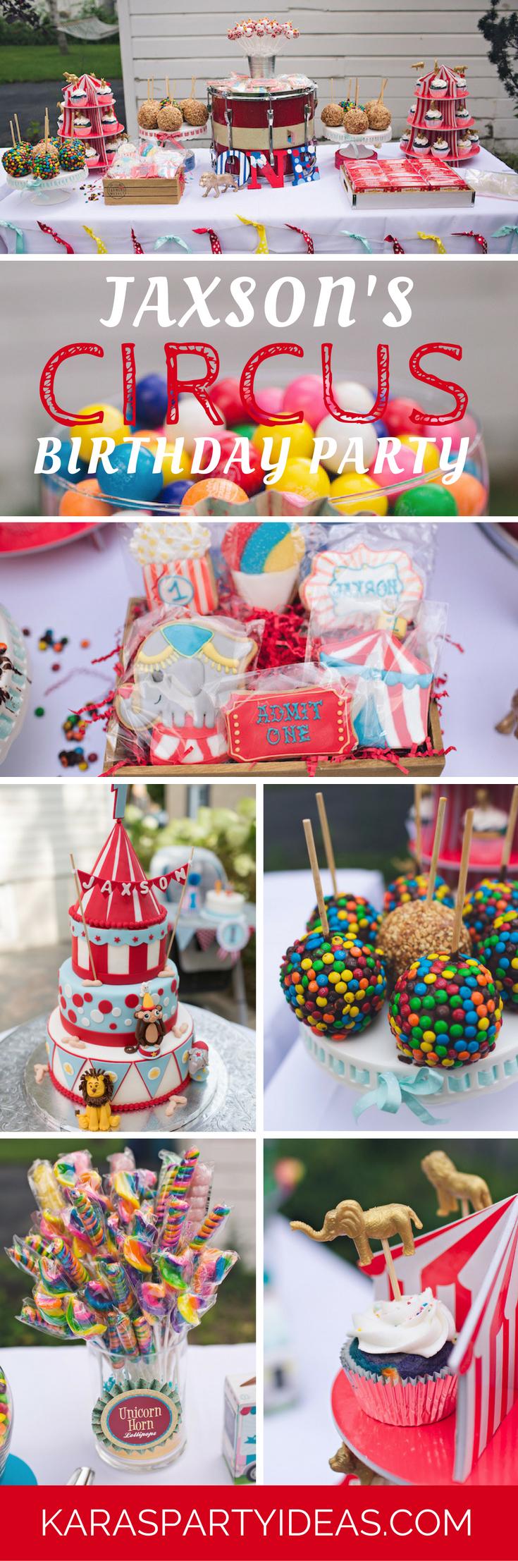 Jaxsons Circus Birthday Party - Karas Party Ideas via KarasPartyIdeas.com