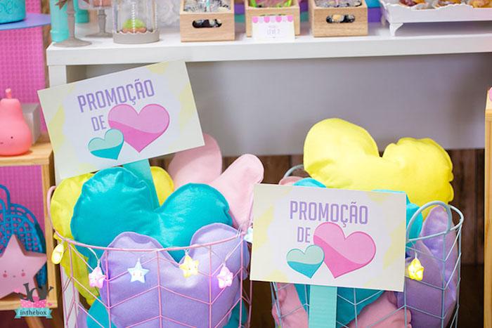 Heart pillows from a Little Shop Birthday Party on Kara's Party Ideas | KarasPartyIdeas.com (22)