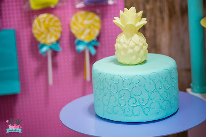 Pineapple cake from a Little Shop Birthday Party on Kara's Party Ideas | KarasPartyIdeas.com (21)