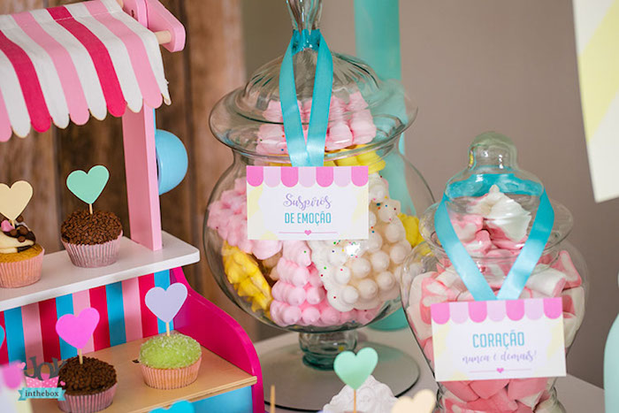 Cupcakes and candy jars from a Little Shop Birthday Party on Kara's Party Ideas | KarasPartyIdeas.com (15)