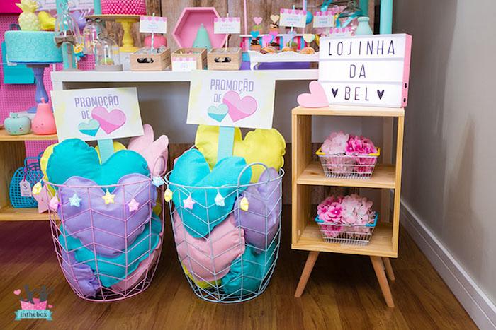 Heart pillows from a Little Shop Birthday Party on Kara's Party Ideas | KarasPartyIdeas.com (12)