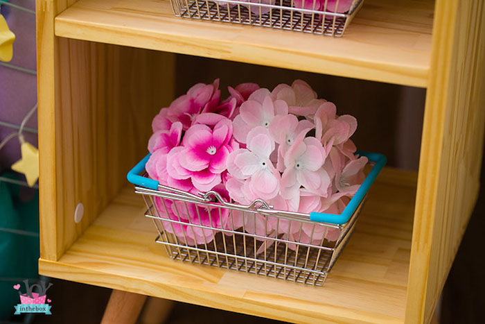 Acrylic flowers + necklaces, in a basket from a Little Shop Birthday Party on Kara's Party Ideas | KarasPartyIdeas.com (10)
