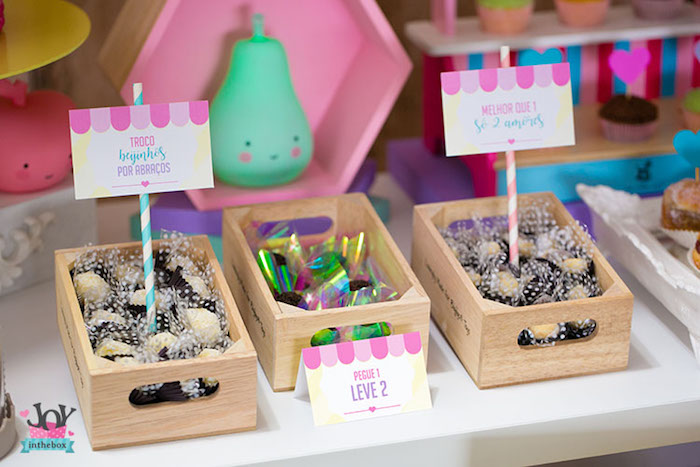 Goodies in wooden boxes from a Little Shop Birthday Party on Kara's Party Ideas | KarasPartyIdeas.com (9)