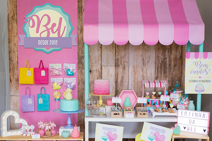 Shop stand + dessert table from a Little Shop Birthday Party on Kara's Party Ideas | KarasPartyIdeas.com (8)