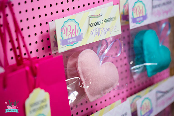 Plush heart favors from a Little Shop Birthday Party on Kara's Party Ideas | KarasPartyIdeas.com (29)