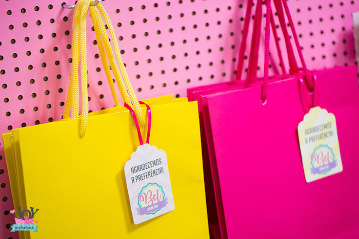 Bright-colored bags from a Little Shop Birthday Party on Kara's Party Ideas | KarasPartyIdeas.com (28)