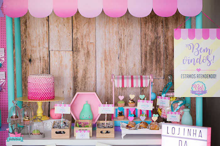 Sweet table + store stand from a Little Shop Birthday Party on Kara's Party Ideas | KarasPartyIdeas.com (24)