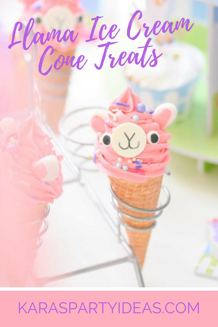 Llama Ice Cream Cone Treats via Kara's Party Ideas - KarasPartyIdeas.com