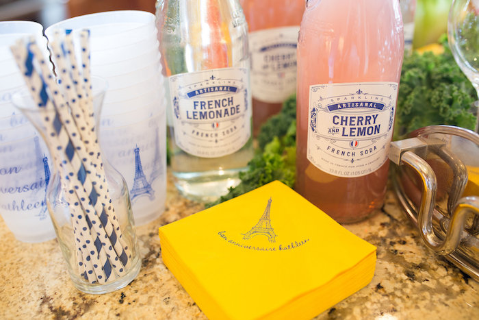 French drinks and Eiffel Tower napkins from a Madeline in Paris Birthday Party on Kara's Party Ideas | KarasPartyIdeas.com (16)