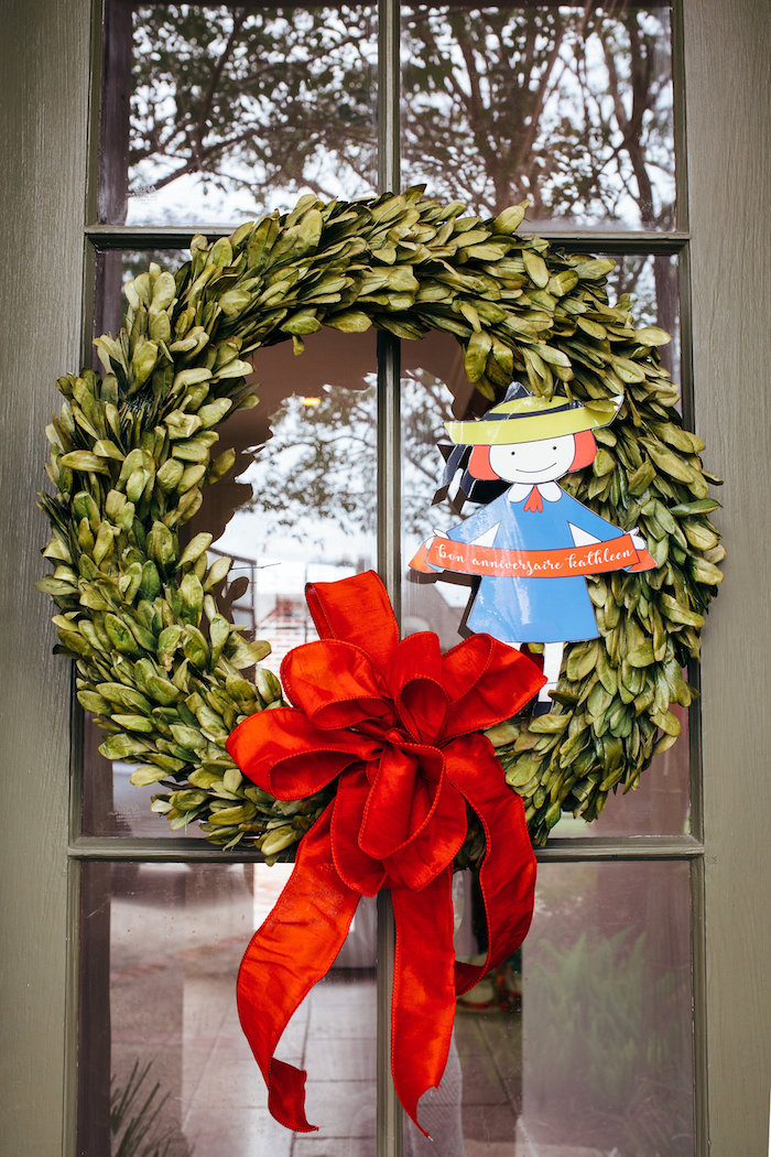 Madeline wreath from a Madeline in Paris Birthday Party on Kara's Party Ideas | KarasPartyIdeas.com (15)