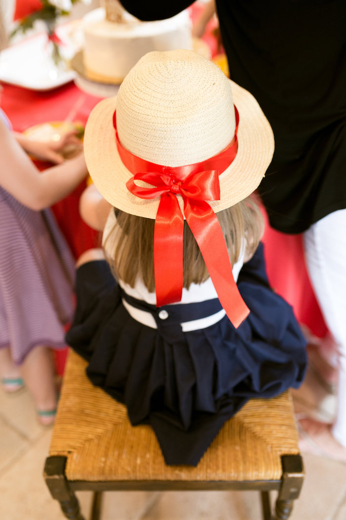 Madeline hat from a Madeline in Paris Birthday Party on Kara's Party Ideas | KarasPartyIdeas.com (13)