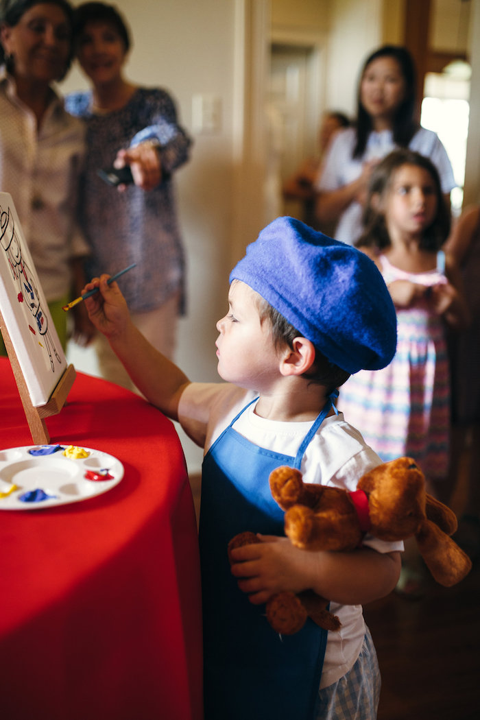 Canvas painting activity from a Madeline in Paris Birthday Party on Kara's Party Ideas | KarasPartyIdeas.com (7)