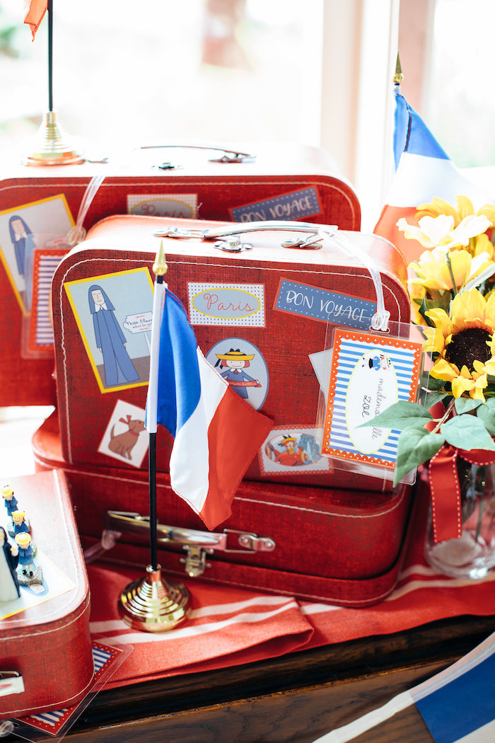Vintage suitcase favors from a Madeline in Paris Birthday Party on Kara's Party Ideas | KarasPartyIdeas.com (18)