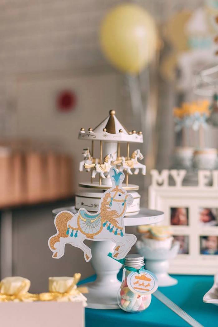 Decorative merry go round from a Merry Go Round + Carousel Birthday Party on Kara's Party Ideas | KarasPartyIdeas.com (7)