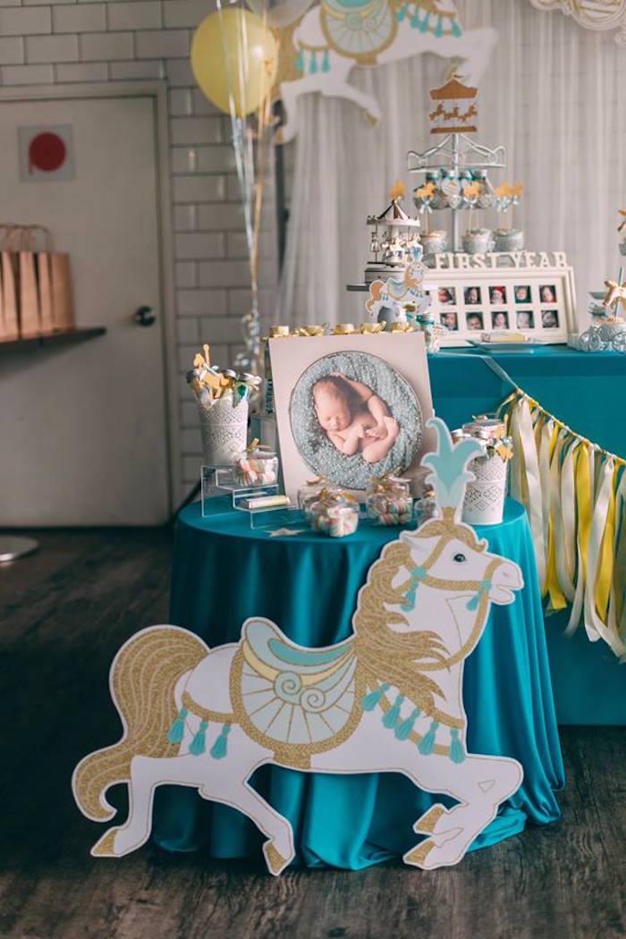 Highlight table from a Merry Go Round + Carousel Birthday Party on Kara's Party Ideas | KarasPartyIdeas.com (6)
