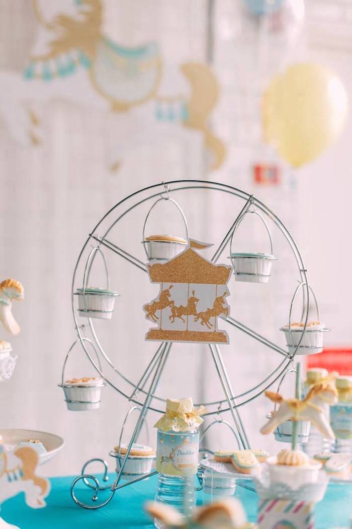Wire ferris wheel cupcake stand from a Merry Go Round + Carousel Birthday Party on Kara's Party Ideas | KarasPartyIdeas.com (20)