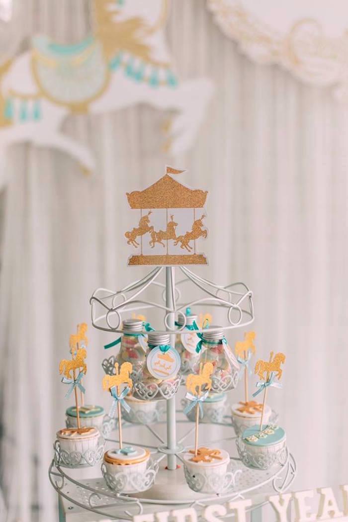 Carousel cupcakes from a Merry Go Round + Carousel Birthday Party on Kara's Party Ideas | KarasPartyIdeas.com (15)