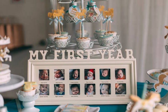 First year photo frame from a Merry Go Round + Carousel Birthday Party on Kara's Party Ideas | KarasPartyIdeas.com (12)