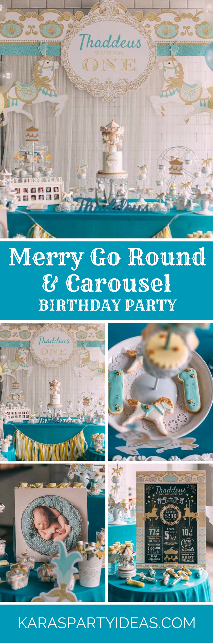 Merry Go Round and Carousel Birthday Party via Kara's Party Ideas - KarasPartyIdeas.com