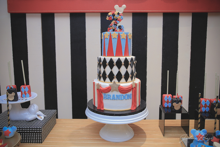Cakescape from a Mickey Mouse Inspired Vintage Circus Party on Kara's Party Ideas | KarasPartyIdeas.com (16)